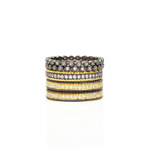 Freida Rothman Classic Pave / Beaded Stack Set Of 5 Rings
