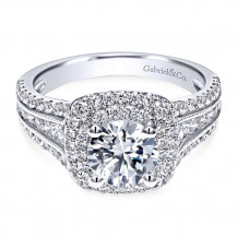 Gabriel & Co. 14k White Gold Round Double Halo Engagement Ring