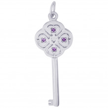 Sterling Silver Key Lg 4 Heart Feb Charm