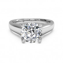 Ritani Solitaire Diamond Engagement Ring with Pave Tulip Detail