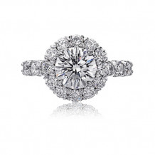 Christopher Design Crisscut Collection Round Diamond Halo Engagement Ring