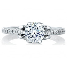 A. Jaffe 18k White Gold Designer Prong Set Engagement Ring