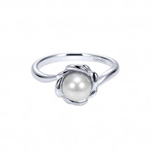 Gabriel & Co. Sterling Silver Black Pearl Ring with Design Around Pearl