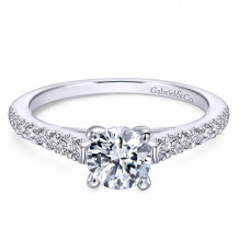 Gabriel & Co. 14k White Gold Round Straight Engagement Ring