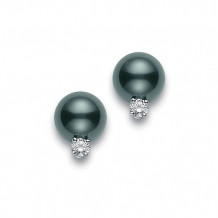 MIKIMOTO 18k White Gold Black South Sea Pearl Earrings with Diamond