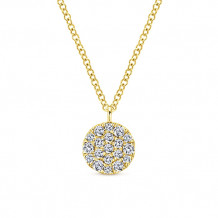 Gabriel & Co. 14k Yellow Gold Round Pave Diamond Necklace