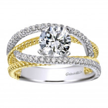 Gabriel & Co 14k Two Tone Gold Round Free Form Engagement Ring