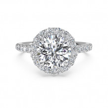 Ritani French-Set Halo Diamond Band Engagement Ring