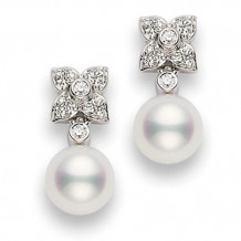 MIKIMOTO 18k White Gold Akoya Cultured Pearl Floral Diamond Earrings