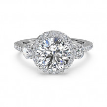 Ritani Three-Stone Halo Diamond Band Engagement Ring