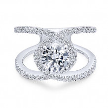 Gabriel & Co. 14k White Gold Free Form Diamond Engagement Ring