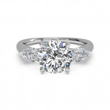 Ritani Three-Stone Diamond Engagement Ring with Pear-Shaped Side-Diamonds