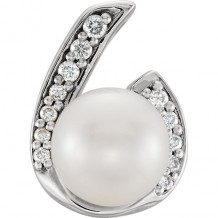 Stuller 14k White Gold Pearl and .07ct Diamond Pendant