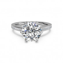 Ritani Solitaire Diamond Six-Prong Micropave Band Engagement Ring