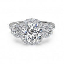 Ritani Three-Stone Halo Diamond Engagement Ring