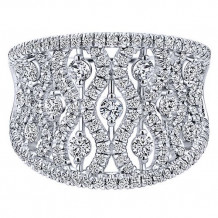 Gabriel & Co. Lusso 14k White Gold Diamond Wide Band