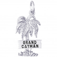 Sterling Silver Grand Cayman Palm W/Sign Charm