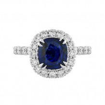 Christopher Designs Diamond Halo Blue Sapphire Cushion Center Fashion Ring